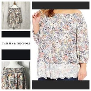 Chelsea & Theodore smocked off shoulder blouse